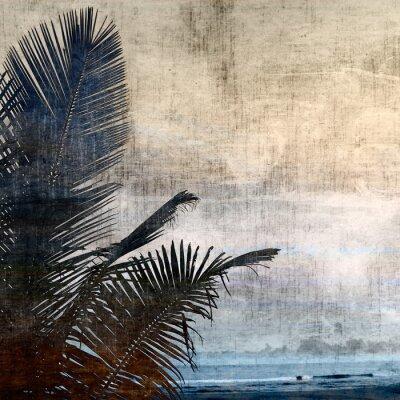 Canvas print grunge palm-2