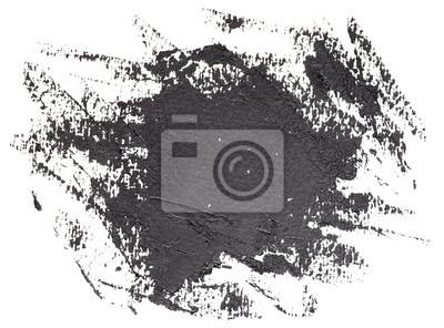Grunge splash banner - hand drawn black brush strokes oil paint isolated on white background