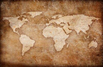 Canvas print grunge world map background