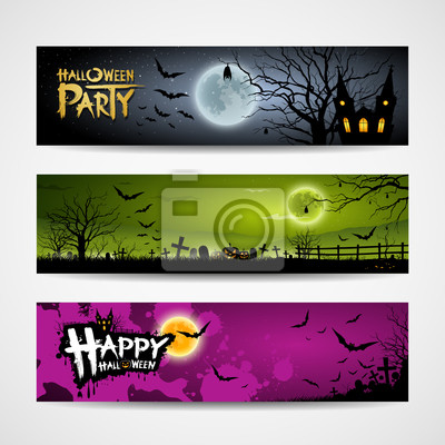 Halloween banners set design background