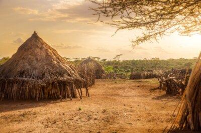Canvas print Hamer village near Turmi, Ethiopia