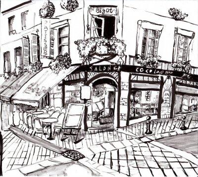 Canvas print hand draw paris coffee shop
