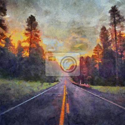 Hand drawing watercolor art on canvas. Artistic big print. Original modern painting. Acrylic dry brush background. Beautiful summer sunset forest landscape. Asphalt road to the hill. Active travel