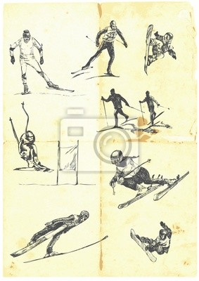 Hand drawn a large collection of alpine skiing