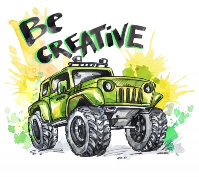 Canvas print Hand drawn card with big car and lettering. Words Be Creative . Watercolor multicolor illustration. Active crazy sport. Transport.
