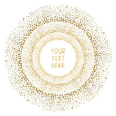 Canvas print Hand drawn gold dots frame isolated on white background. Abstract vector template for design.