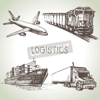 Canvas print Hand drawn logistics and delivery sketch icons set. Vector illustration