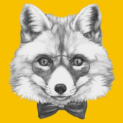 Canvas print Hand drawn portrait of Fox with glasses. Vector isolated elements.