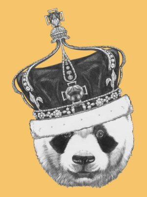 Canvas print Hand drawn portrait of Panda with crown. Vector