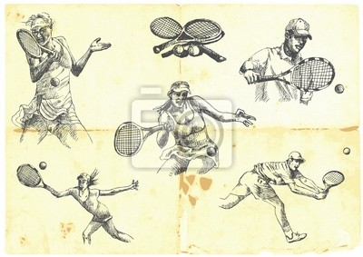 hand-drawn series - a collection of TENNIS players