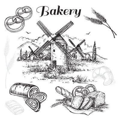 Canvas print hand drawn set bakery