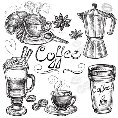 Canvas print hand drawn set coffee collection
