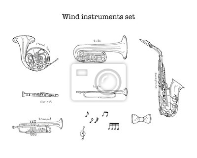 Hand drawn sketch illustration of Wind instruments set with treble clef and notes and lettering French horn, tuba, clarinet, bugle, saxophone, trumpet isolated on white