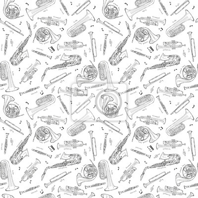 Hand drawn sketch illustration seamless pattern background of Wind instruments set isolated on white with lettering