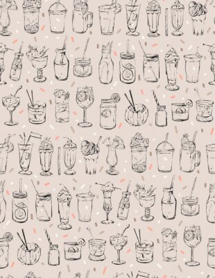 Hand drawn vector abstract ink graphic brush textured sketch drawing seamless pattern with big collection of cocktails and dessert drinks isolated on pastel background