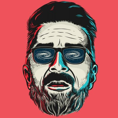 Canvas print Hand drawn vector face of a hipster man with glasses.