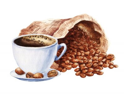 Canvas print Hand drawn watercolor cup of black coffee with sack of beans isolated on white background. Food illustration.