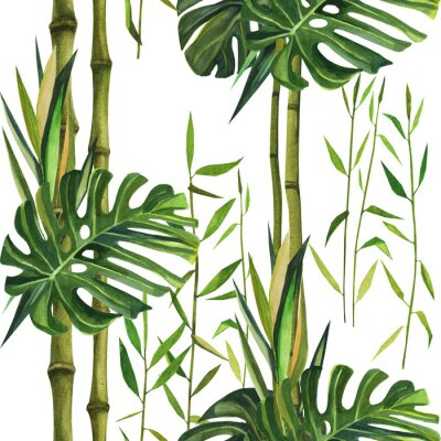 Canvas print Hand drawn watercolor pattern with bamboo leaves. Seamless patterns