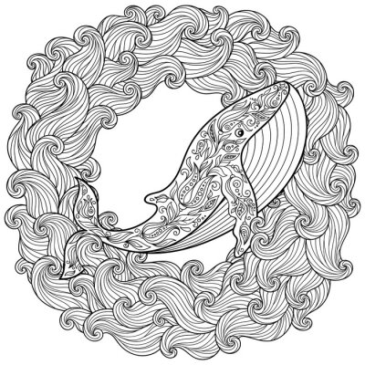 Canvas print Hand drawn whale in the waves for antistress Coloring Page