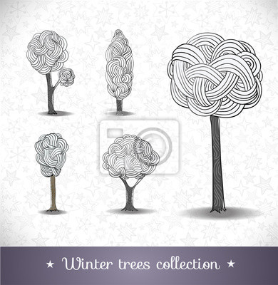 Canvas print Hand drawn winter trees.