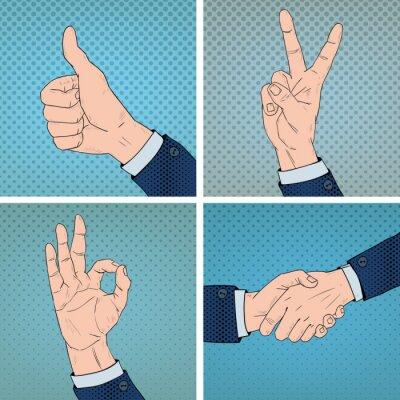 Canvas print Hand Gestures Set in Comic Pop Art Style