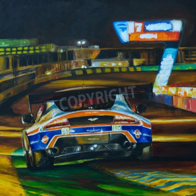 Canvas print Hand painted picture of racing car driving at night with high speed in circuit. Illustration created with acrylic