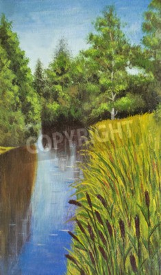 Hand painted picture, oil painting, summer landscape with river and trees on bank.