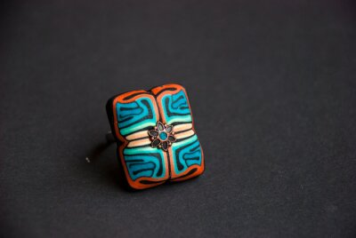 Handmade jewelry from polymer clay. Floral Ethnic ring with unique pattern. Fashion jewelry.Still life in boho style.