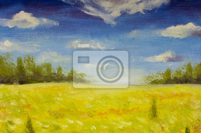 Handmade oil painting summer nature landscape field, sky, forest wood illustration art