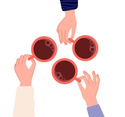 Canvas print Hands holding cups. Coffee, tea in woman hand. Isolated mugs with hot drinks in cafe. Friends meeting or morning time vector illustration. Hot cup of coffee drink, hand with mug