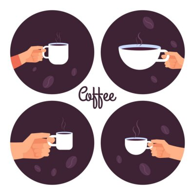 Canvas print Hands holding cups of coffee vector icons set isolated on white background illustration