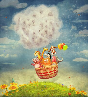 Canvas print Happy animals in the   air balloon in the sky - illustration art