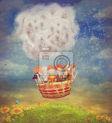 Canvas print Happy children in the   air balloon in the sky - illustration ar