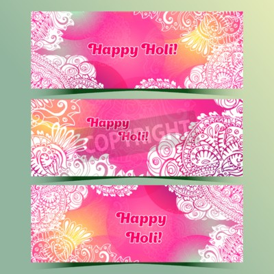 Happy Holi horizontal flyer design template, vector background concept design with colorful Holi doodle style paint. Pink and white colors. Happy Holi greeting text.