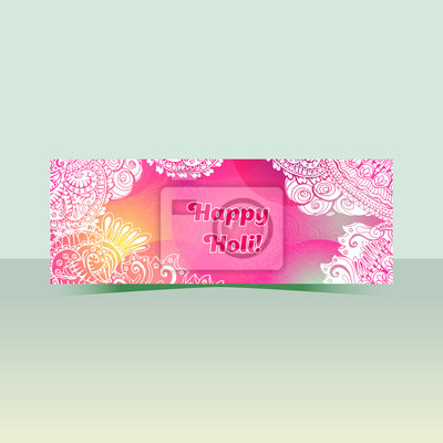 Happy Holi horizontal flyer design template, vector background concept with colorful doodle style paint. Pink and white colors.