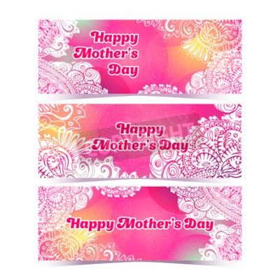 Happy Mothers Day horizontal flyer design template, Raster background concept design with colorful doodle style paint. Pink and white colors. Happy Mothers Day greeting text.