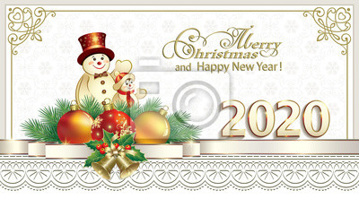 Happy New Year 2020. Greeting Christmas card with snowmen and Christmas balls on background of snowflakes in frame with ornament and decorative ribbon