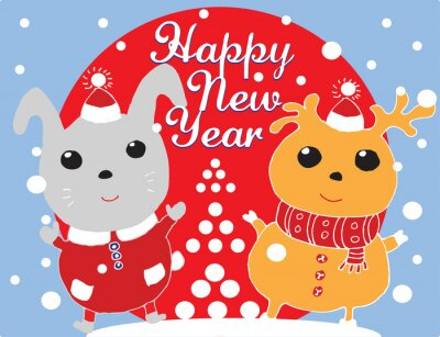 happy new year, greeting christmas card with hare and deer with snowflakes on bly fon, vector illustration
