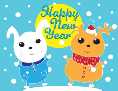 happy new year, greeting christmas card with hare and deer with snowflakes, vector illustration