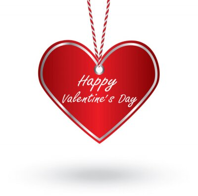 Happy Valentine's Day with hanging heart.
