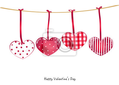 Happy Valentine's Day with hanging hearts greeting card vector