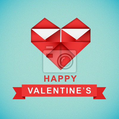 Happy Valentine's Day with origami heart.