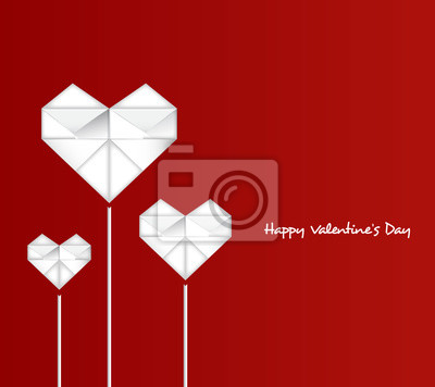 Happy Valentine's Day with paper heart-Vector Illustration