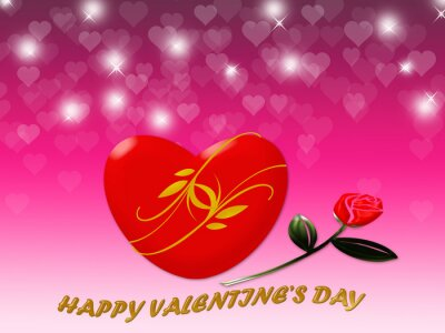 Happy Valentine's day with red heart and rose background