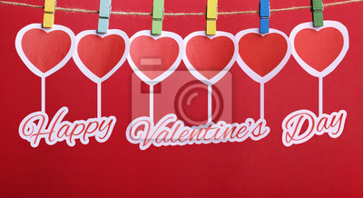 Happy Valentine's Day With Red Hearts