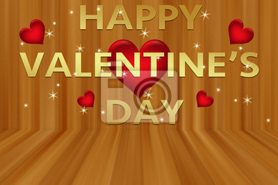 Happy Valentine's day with red hearts on wooden style wall