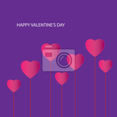 Happy Valentine's Day trees Inscription Happy Valentine's Day with red hearts made of paper on a purple background