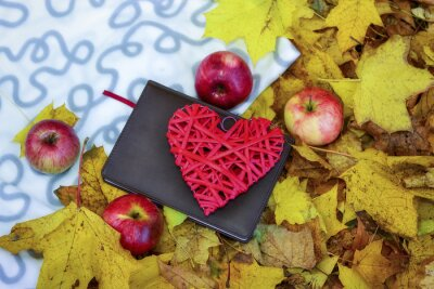 Harvest. Autumn still life with red apples, leaves,book and hear
