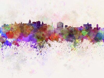 Canvas print Havana skyline in watercolor background