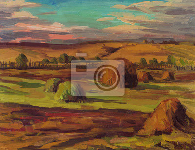 Canvas print Haystacks in a field in the garden. Landscape. Oil painting